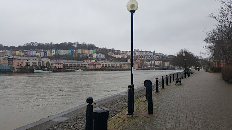 Best Bristol walk: Views of Hotwells colourful houses from Harbourside