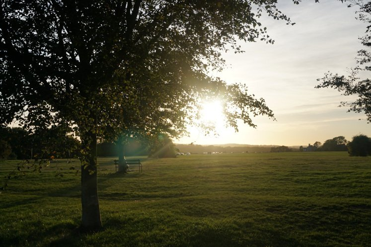 Best Bristol walk: Green space in The Downs with sun setting