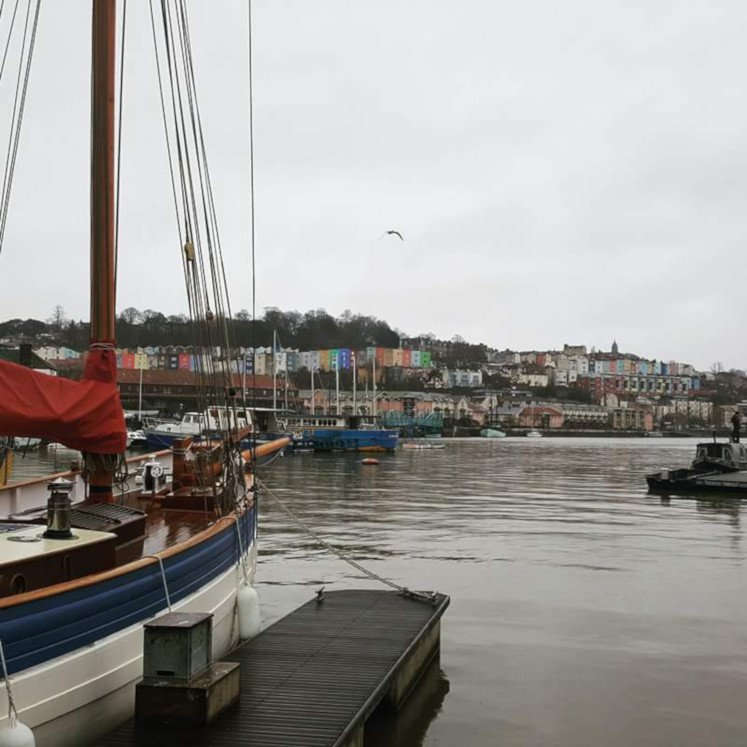 Bristol's Spike Island Harbour with views of Hotwells' colourful houses