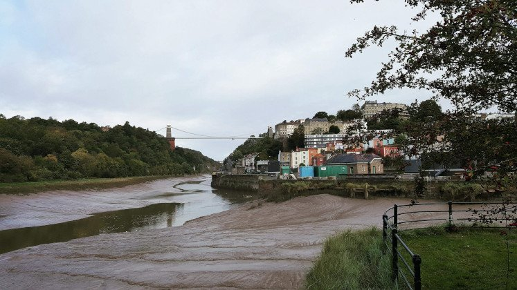 View of Clifton Suspension Bridge and Clifton from Spike Island