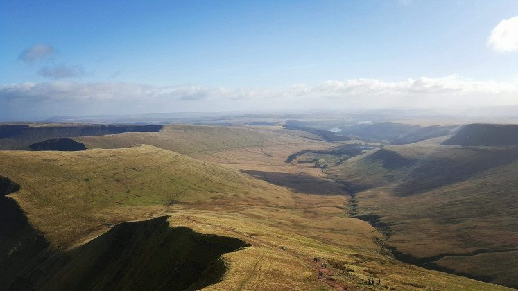 Splendid views from Pen y Fan of the Brecon Beacons mountains and valleys on the Horseshoe Ridge hiking trail
