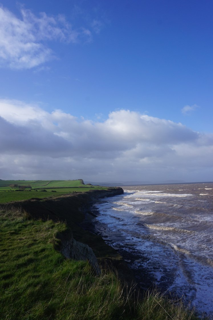 Arresting cliffs and crashing waves along the Quantock Hills coastal path, enjoyed during the Kilve and East Quantoxhead walk