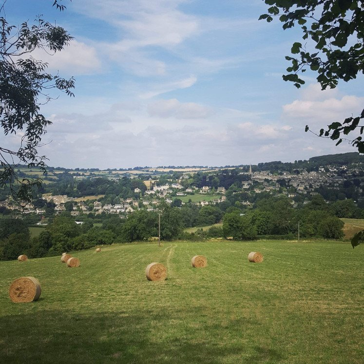 View of Bisley village from Cotswold hills