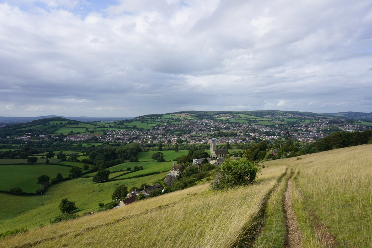 Great views of the Stroud valley while walking along the Cotswold Way in Selsley Common