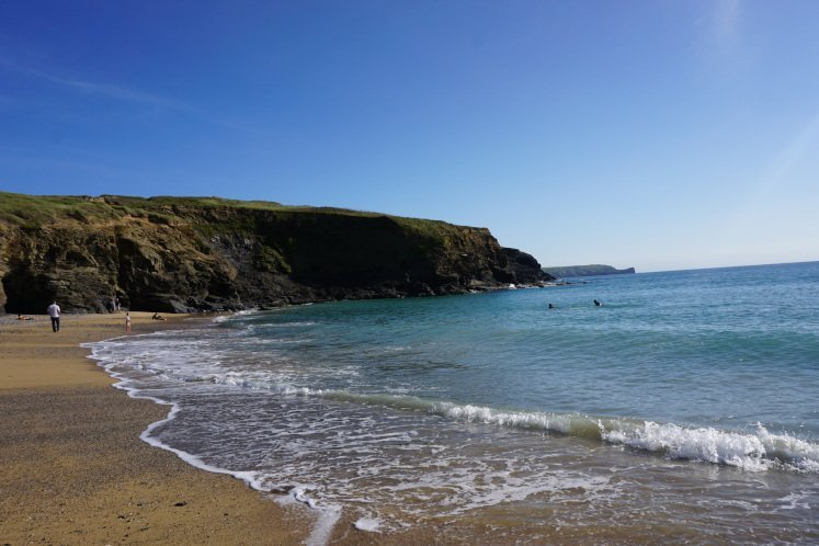 Beach and Rugged Cliff of Church Cove in Cornwall