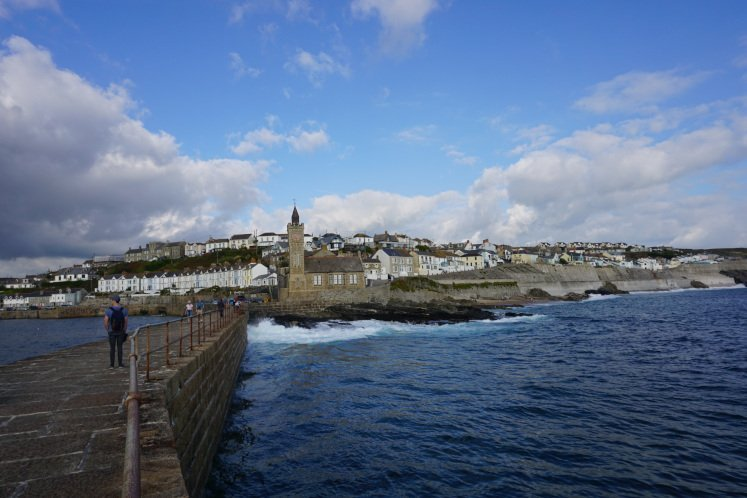 Porthleven Clock Tower and town of Porthleven