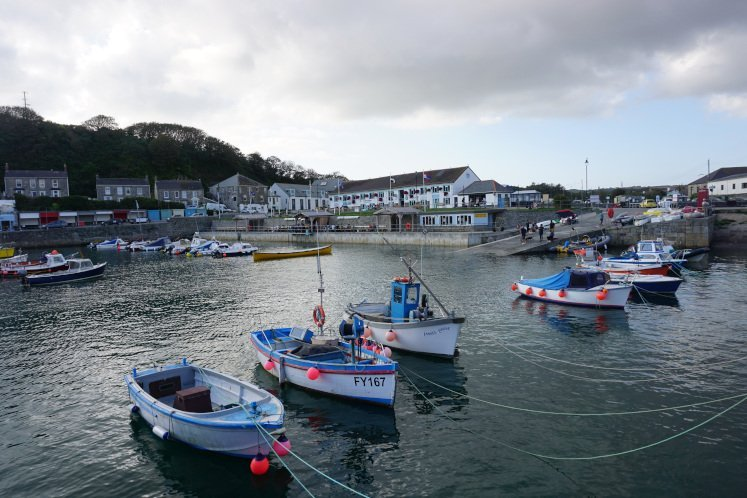 Line of moored boats in Porthleven harbour