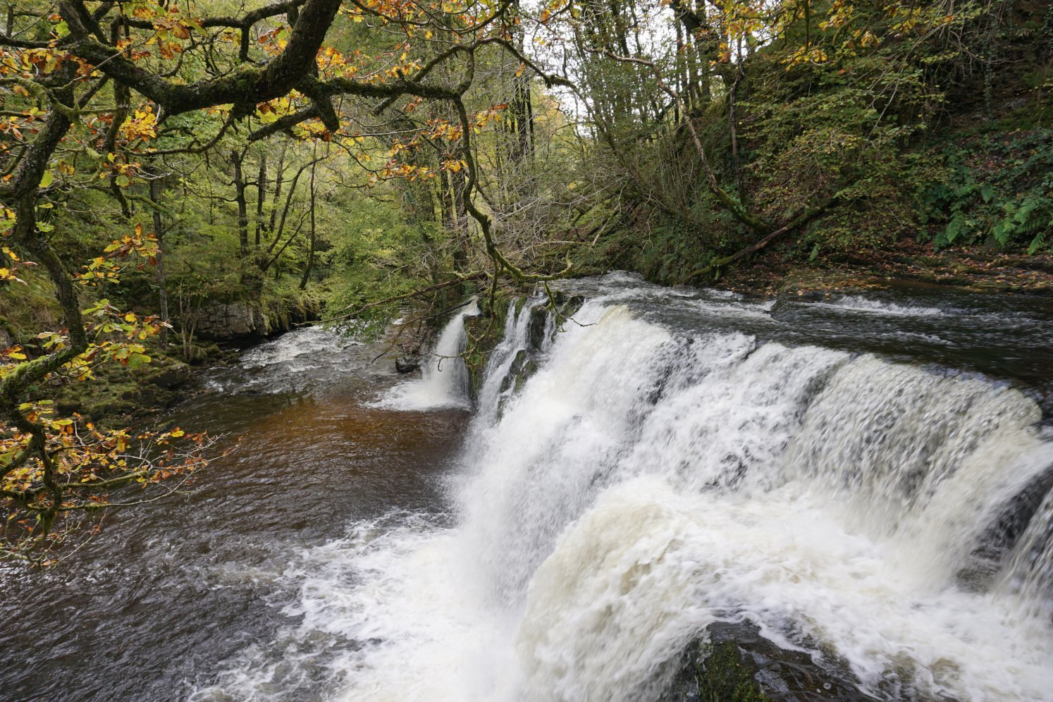 Sgwd Isaf Clun-Gwyn waterfall on the Four Waterfall Walk in the Brecon Beacons